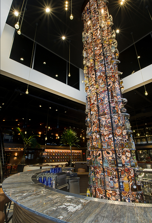 Torre\'s three story tequila tower is home to over 80 varieties of tequila and glows bright visible from Center Valley Parkway Lehigh Valley