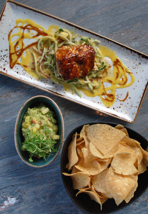 Salmon, guacamole and tortilla chips in Torre\'s modern interpretation of classic Mexican cuisine
